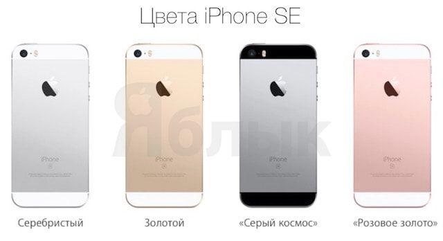 Чем отличается iPhone SE от iPhone 5s. Цвета