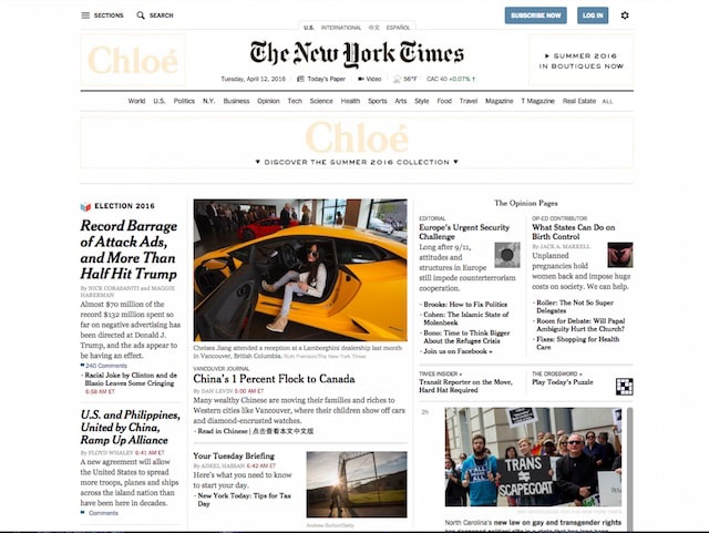 Сайт The New York Times