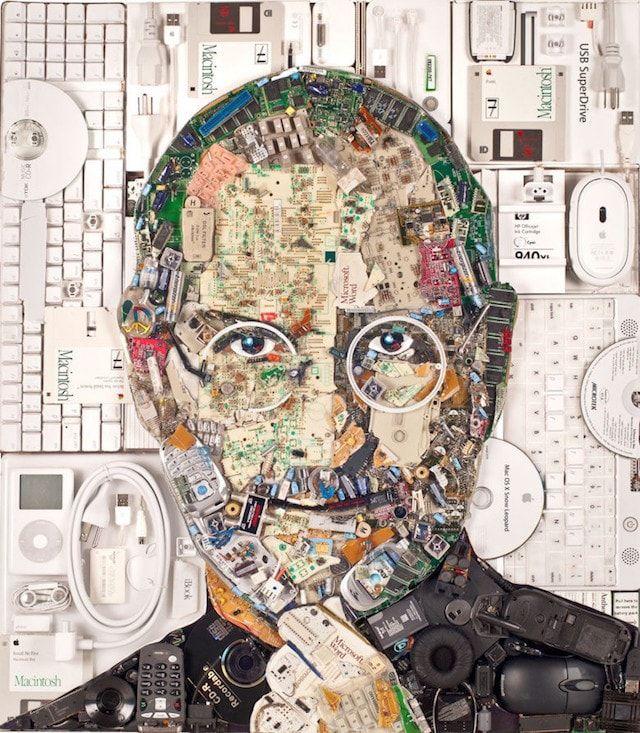 Портрет Стива Джобса из старых электронных устройств и мусора