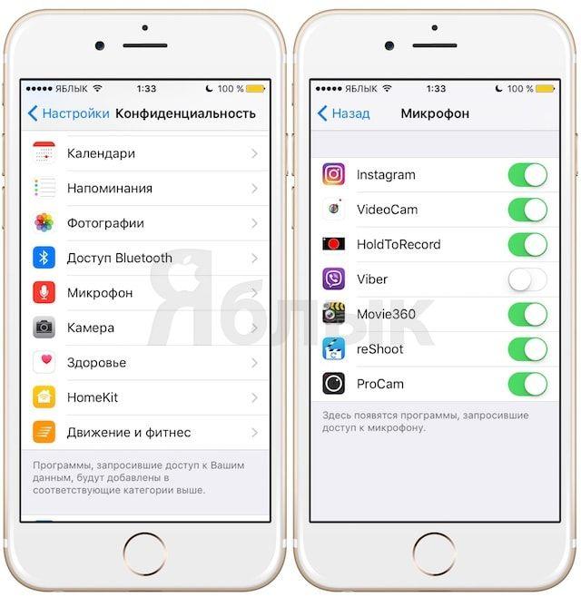 iOS 9 - настройки доступа приложений