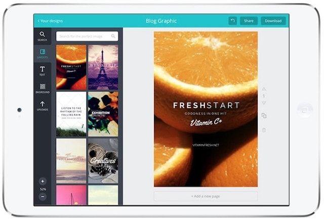 canva - текст на фото на iPad