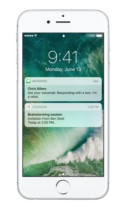Экран блокировки iOS 10