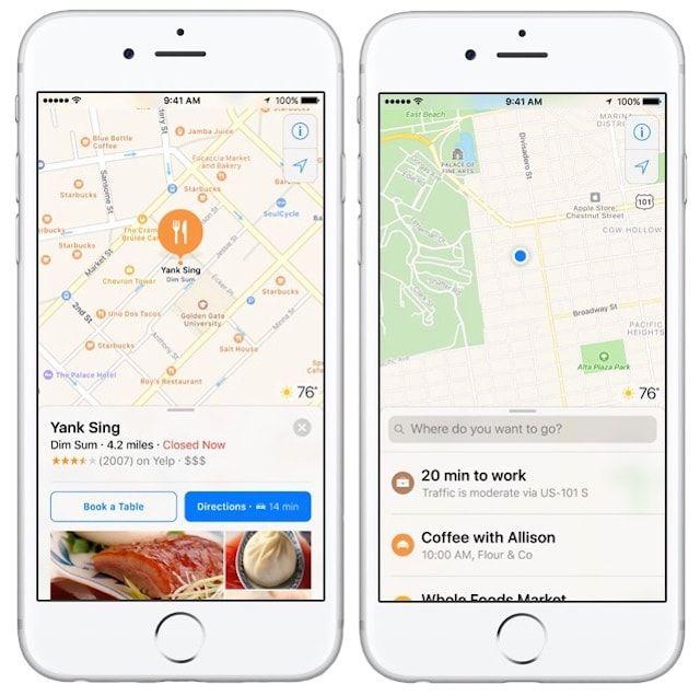 Карты Apple в iOS 10