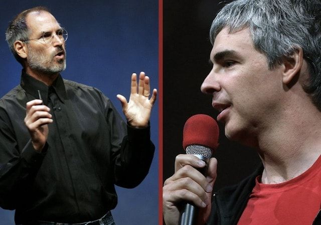 Стив Джобс (Apple) и Ларри Пейдж (Google)