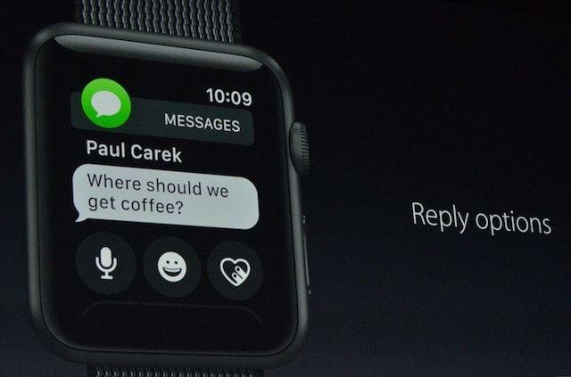 watchOS 3 - ответ на сообщения в Apple Watch