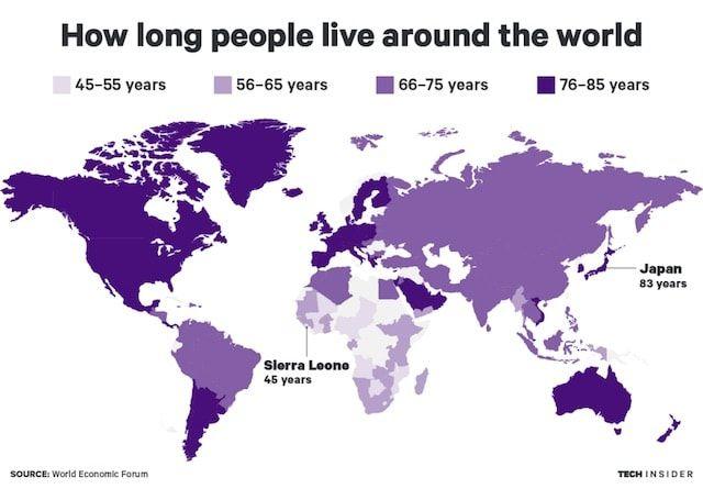 Продолжительность жизни человека в разных странах