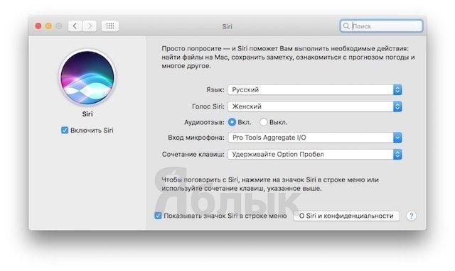 Как вызывать Siri на Mac (macOS Sierra) с клавиатуры