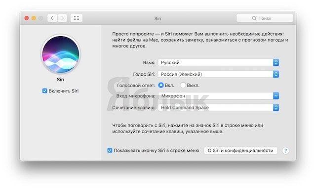 Siri на Mac