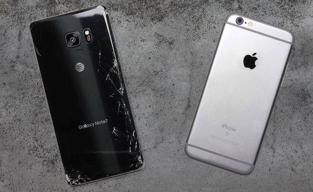 Дроп-тест iPhone 6s и Samsung Galaxy Note 7