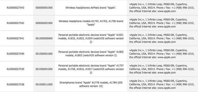 AirPods и iPhone 7 зарегистрированы Apple