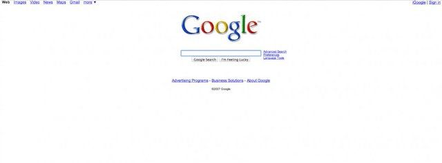 Вкладки Google в 2007 году