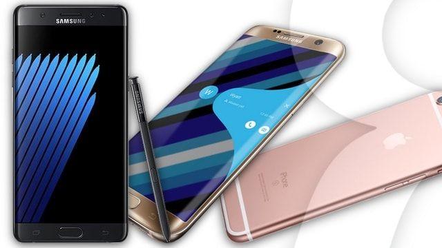 Чем отличаются Samsung Galaxy Note7, iPhone 6s Plus и Galaxy S7 Edge?