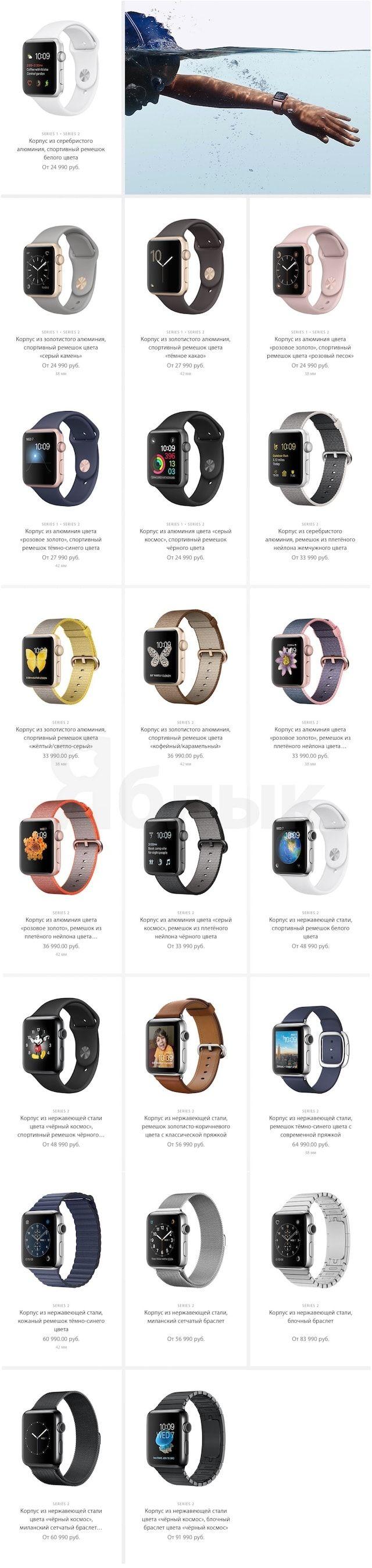 цены на Apple Watch Series 2