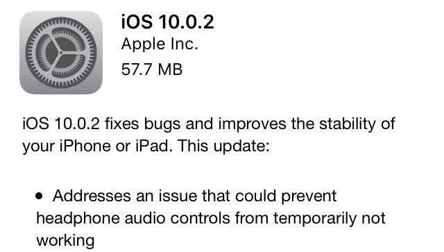Apple выпустила обновление iOS 10.0.2 для iPhone и iPad