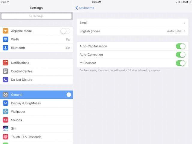Настройки клавиатуры в iOS 10 на iPad