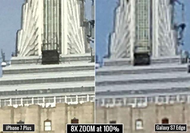 Зум (zoom) на iPhone 7 Plus и Samsung Galaxy S7