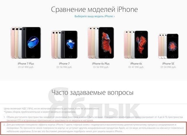 Проблема iPhone 7 в цвете «черный оникс»