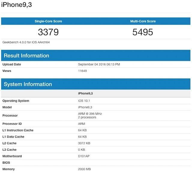 iphone 7 в тесте geekbench