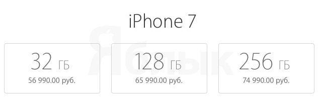 Цена iPhone 7 в России