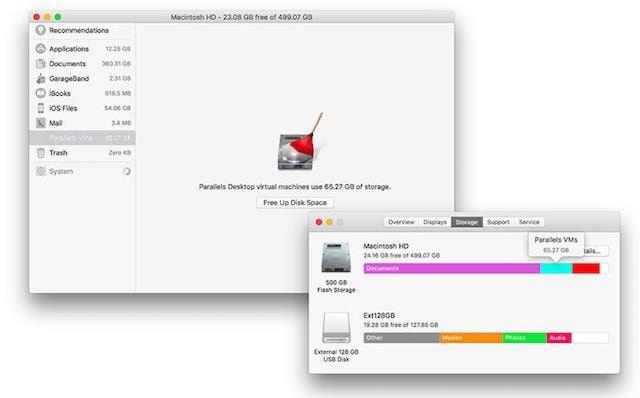 parallels 12 windows на Mac - оптимизация хранилища
