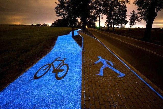 Уникальная светящаяся дорожка для велосипедистов