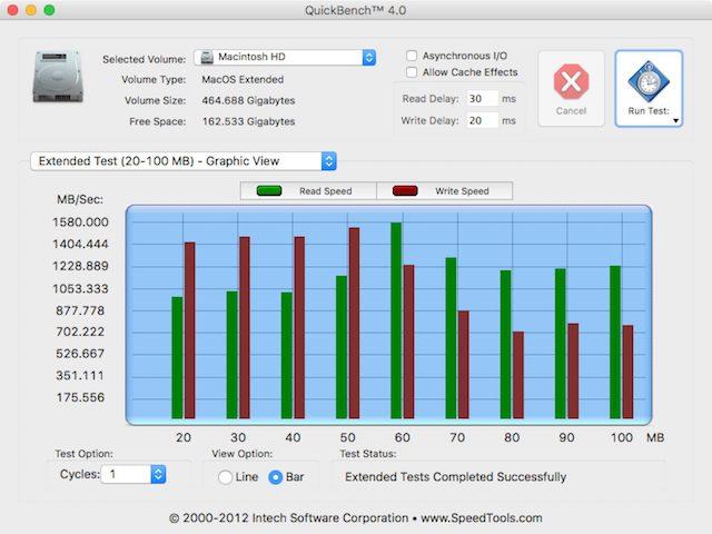 Результаты бенчмарка QuickBench 4.0 MacBook Pro конца 2016 года