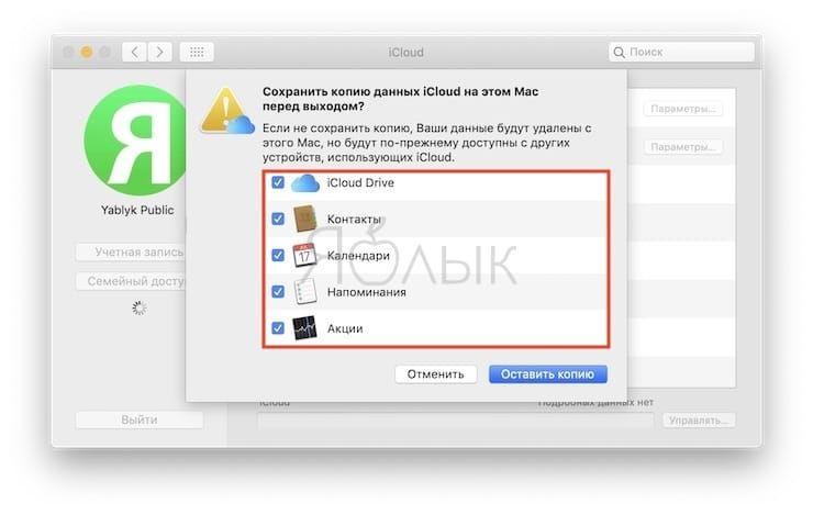 Как выйти из iCloud на Mac (macOS)