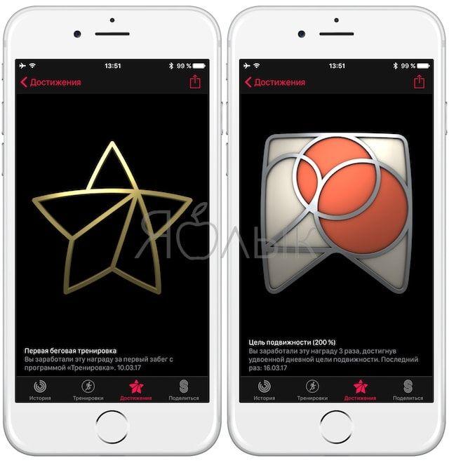Достижения в «Активности» на часах Apple Watch