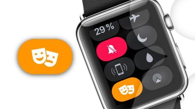 Режим «Театр» (иконка с масками) в Apple Watch