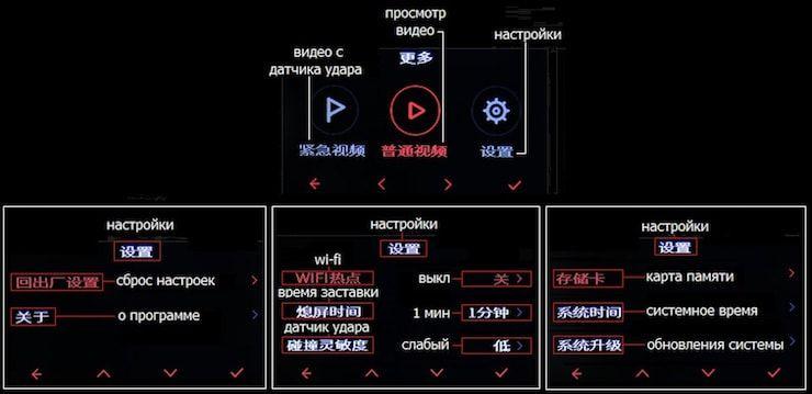 Описание кнопок и меню настроек регистратора Xiaomi MiJia Car DVR Camera
