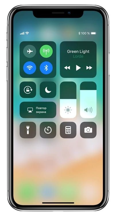 Пункт управления в iPhone X