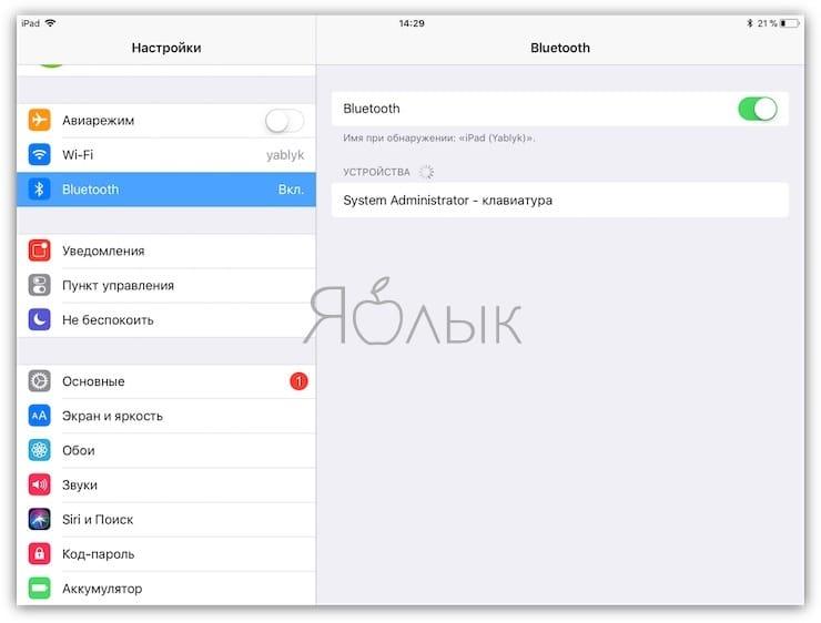 подключение клавиатуры к iPad