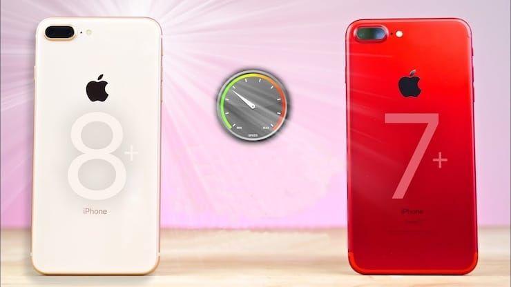 Сравнение скорости iPhone 7 Plus и iPhone 8 Plus