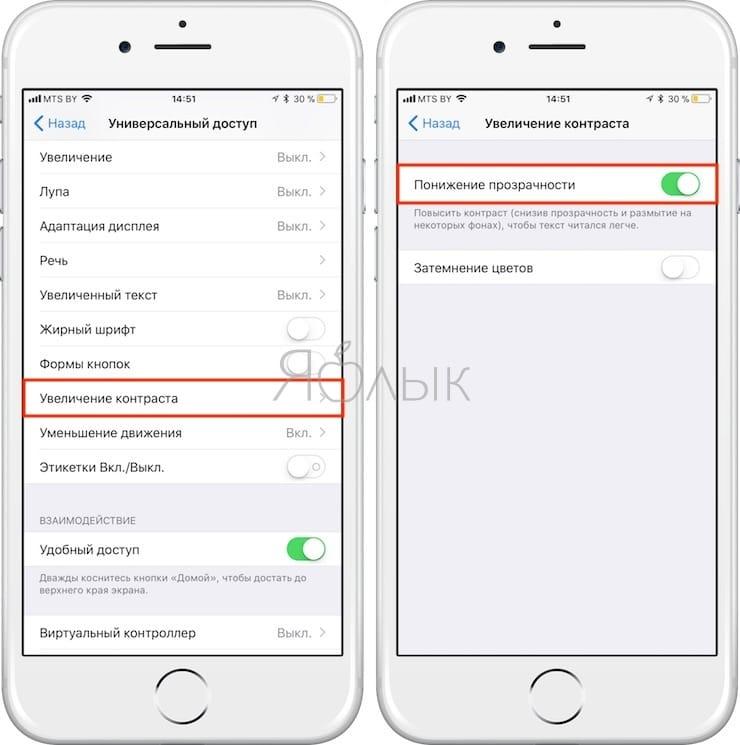 Уменьшение контрастности на экране iOS