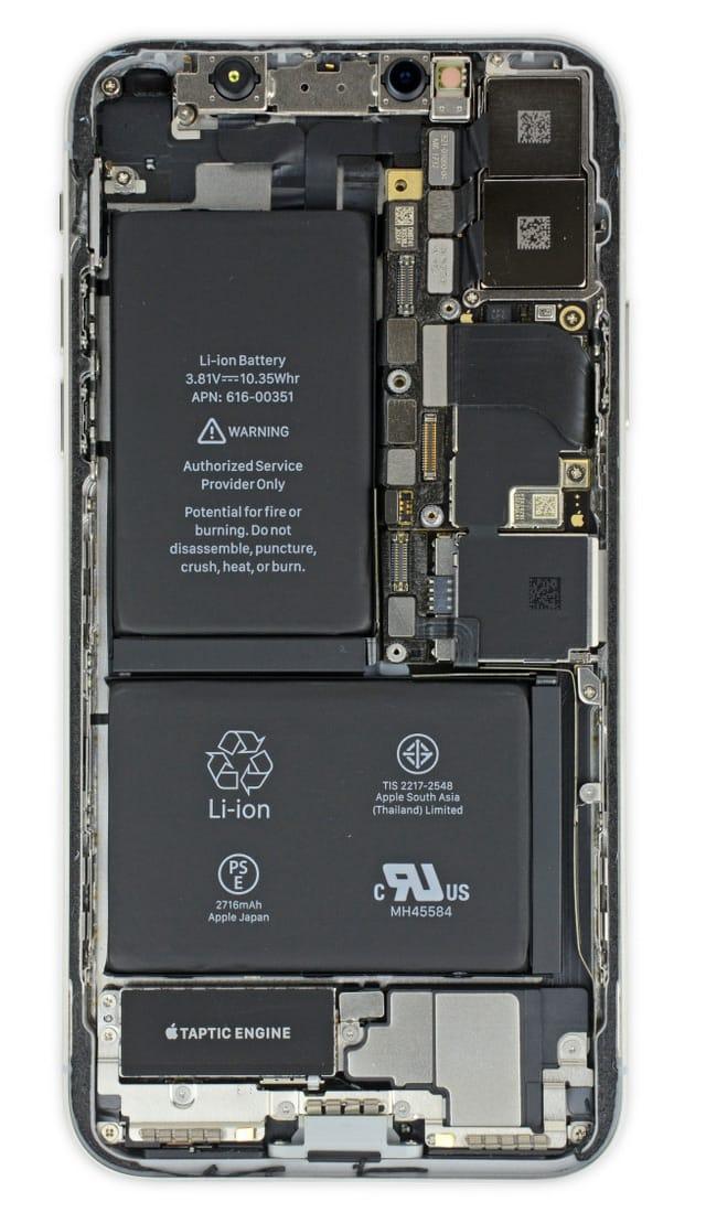 iPhone X - первый смартфон Apple, оснащенный двумя аккумуляторами (фото)