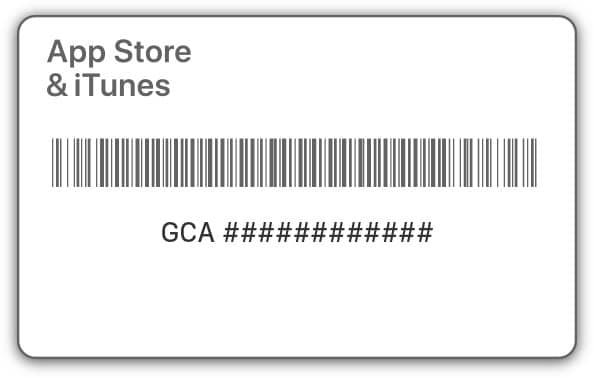 Код на подарочной карте Apple