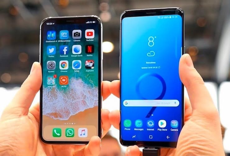 ЭкраныSamsung Galaxy S9 или iPhone X