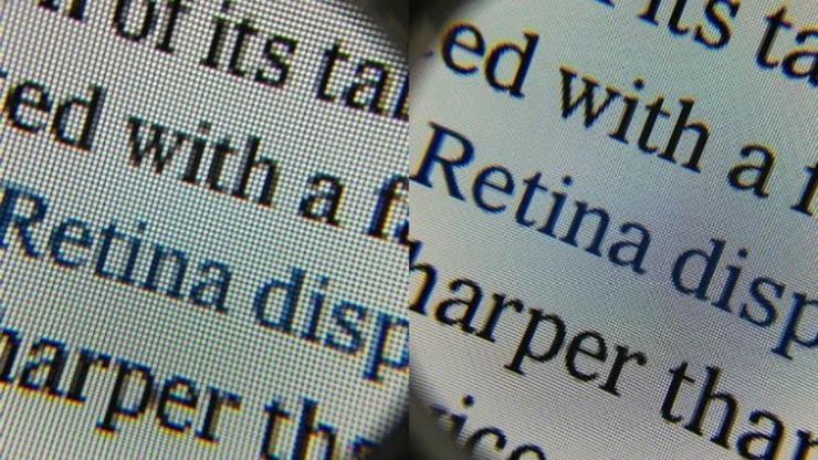 Сравнение retina и не ретина дисплеев