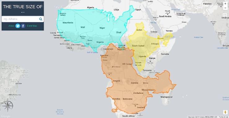 Размер стран