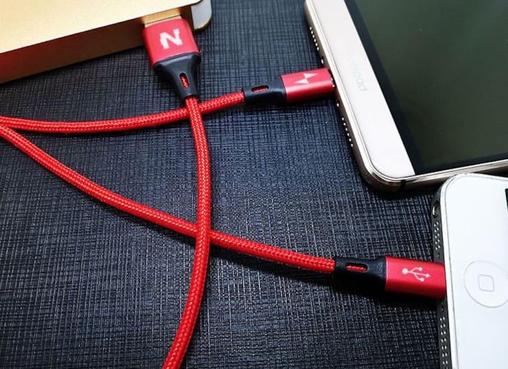 Раздвоенный кабель (Lightning + MicroUSB)