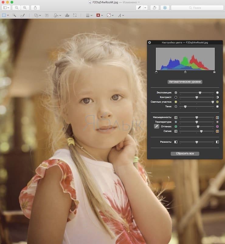 Настройка цвета изображения в приложении Просмотр