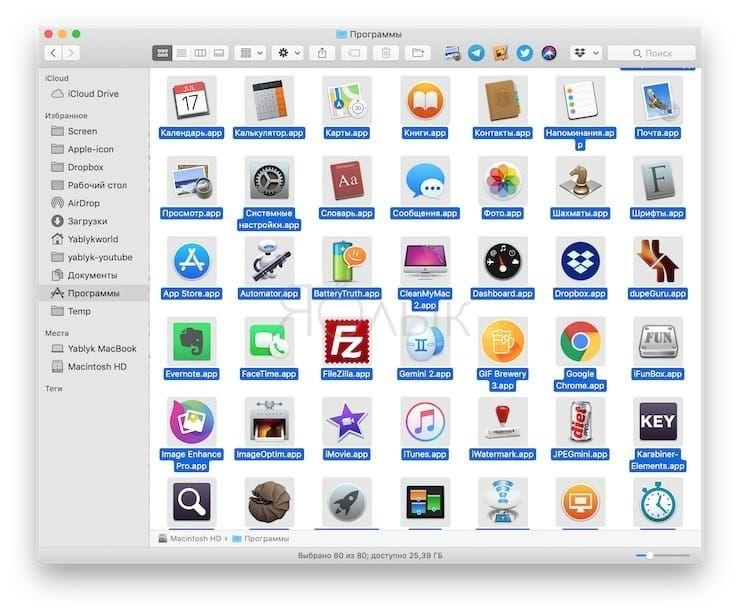 Как создать список установленных приложений на Mac
