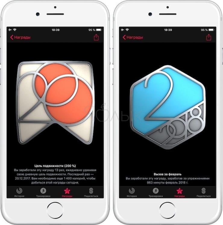 Награды Apple Watch на iPhone
