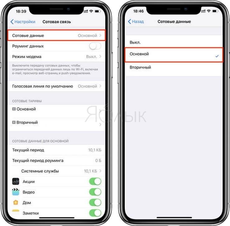 Как настроить SIM-карту для интернета на iPhone с двумя SIM-картами