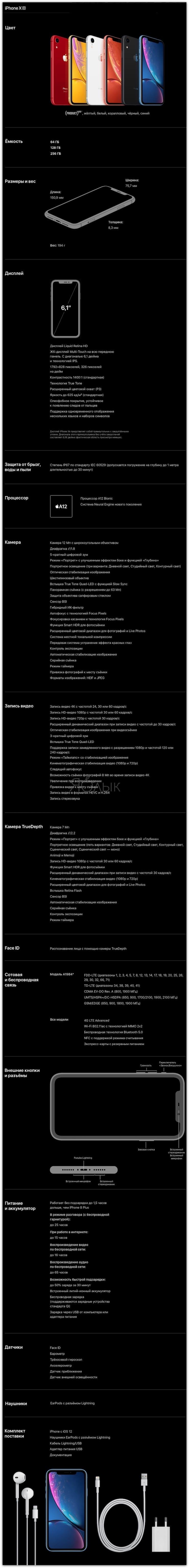 Подробные характеристики (спецификации) iPhone XR