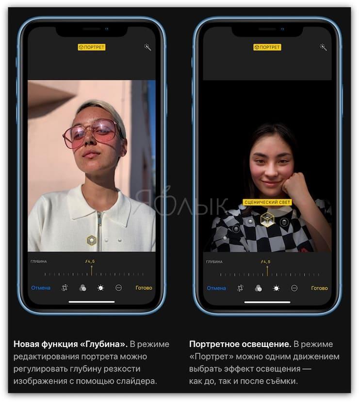 Портретное освещение в iPhone XR