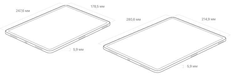 Размеры iPad Pro 2018