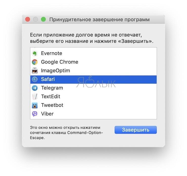«Завершить принудительно…» для Mac