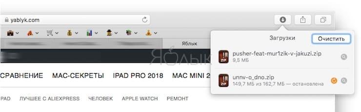 Как приостановить и возобновить загрузки (скачивание файлов) в Safari на Mac