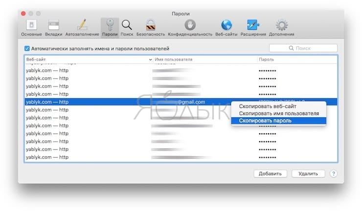 Как посмотреть сохраненные пароли сайтов в Safari на Mac (macOS)